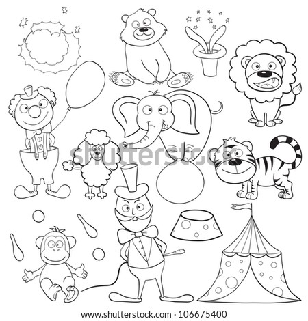 Outlined cute cartoon circus elements for coloring book.Raster version. - stock photo