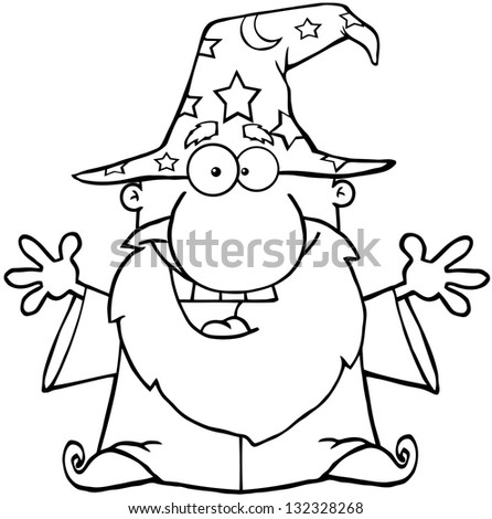 Outlined Friendly Wizard With Open Arms. Raster Illustration.Vector Version Also Available In Portfolio. - stock photo