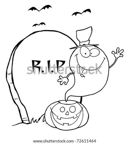 Outlined Ghost Waving From Pumpkin Near Tombstone And Bats