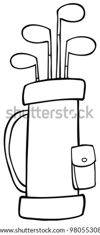 Outlined Golf Bag. Raster Illustration.Vector version also available in portfolio. - stock photo