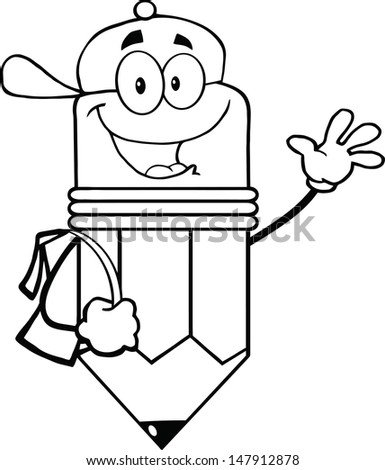 Outlined Happy Pencil Student Going To School. Vector version also available in gallery - stock photo