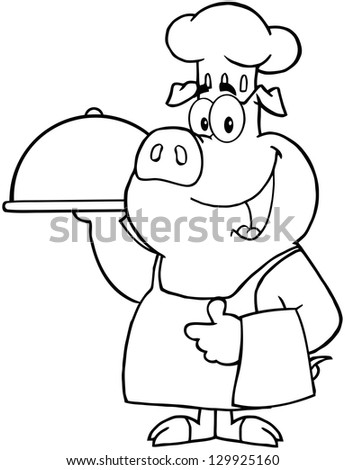 Outlined Happy Pig Chef Holding A Platter. Raster Illustration. - stock photo