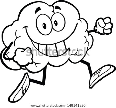Outlined Healthy Brain Cartoon Character Jogging. Vector version also available in gallery - stock photo