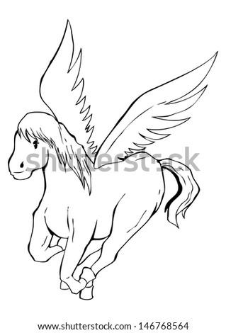 Outlined illustration of a pegasus