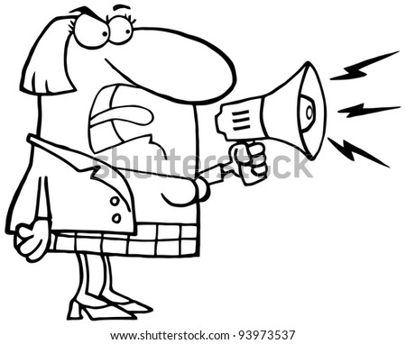 Outlined  Mad Business Woman Yelling Through A Megaphone .Vector version is also available