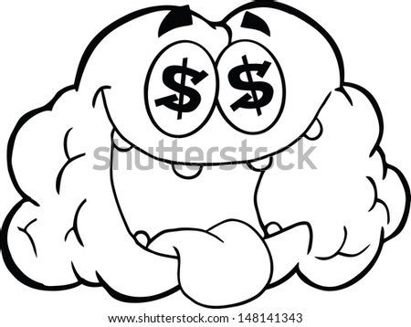 Outlined Money Loving Brain Cartoon Character. Vector version also available in gallery