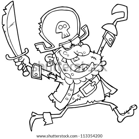 Outlined Pirate Zombie. Raster Illustration.Vector version also available in portfolio. - stock photo