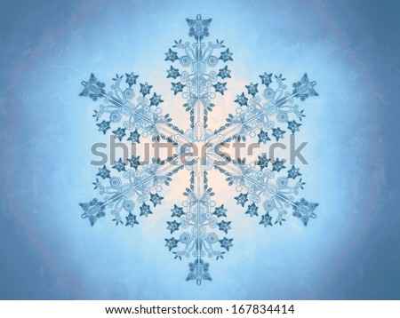 Outlined representation of a snowflake, on a blue background, referring to concepts such as wintertime, snow, cold weather, meteorology, as well as Christmas and New Year�s Eve - stock photo