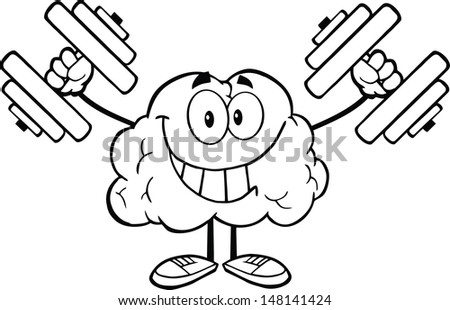 Outlined Smiling Brain Cartoon Character Training With Dumbbells. Vector version also available in gallery - stock photo