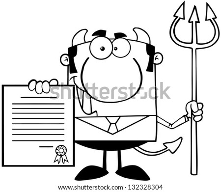 Outlined Smiling Devil Boss With A Trident Holds Up A Contract. Raster Illustration.Vector Version Also Available In Portfolio.