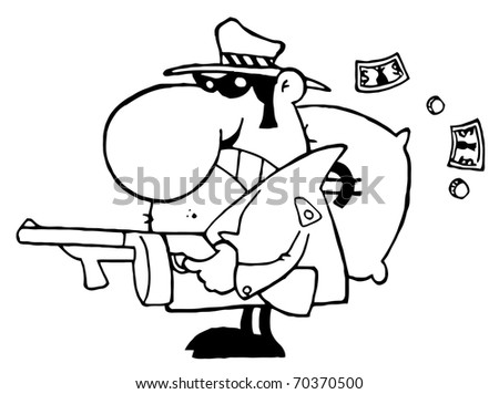 Outlined Tough Mobster Holding A Machine Gun And Money Sack - stock photo