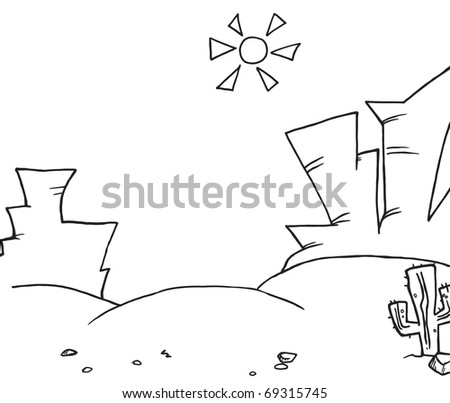 Outlined Western Landscape - stock photo