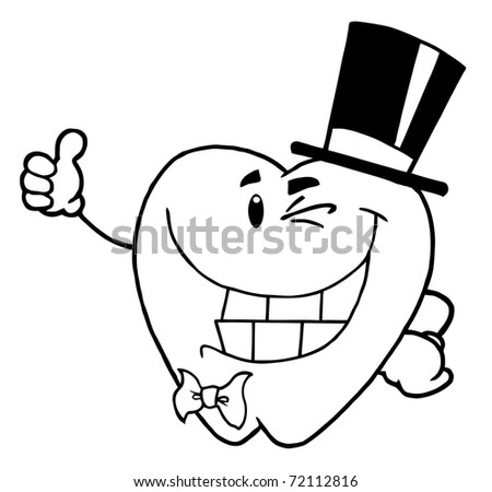 Outlined Winking Gentleman Tooth - stock photo