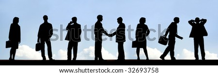 Outlines of business partners handshaking with several employees near by