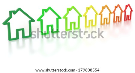 outlines of homes with the colors of energy efficiency - stock photo