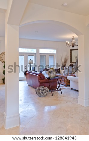 Outlook At The Luxury Living Room With Marble Floor Throug Arch Interior