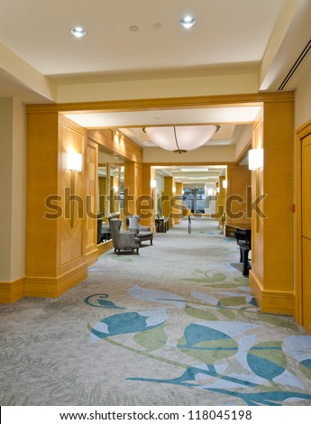 Outlook, corridor of the lobby of the luxury five stars hotel. Vancouver, Canada. - stock photo