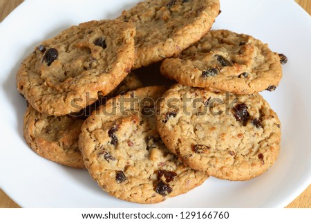 Outmeal cookies with raisins. - stock photo
