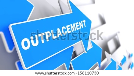 """Outplacement - Business Background. Blue Arrow with """"Outplacement"""" Slogan on a Grey Background. 3D Render. - stock photo"""