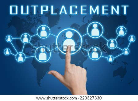 Outplacement concept with hand pressing social icons on blue world map background. - stock photo