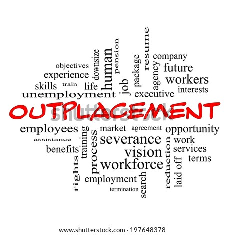 Outplacement Word Cloud Concept in red caps with great terms such as company, job, workers and more. - stock photo