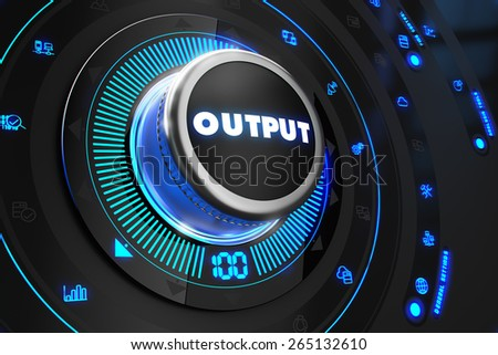 Output Controller on Black Control Console with Blue Backlight. Increase, improvement, control or management concept. - stock photo