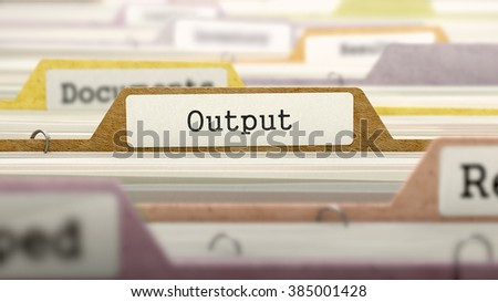 Output - Folder Register Name in Directory. Colored, Blurred Image. Closeup View. 3D Render.
