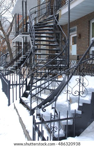 Outside a wrought iron staircase, Montreal Canada