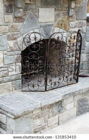 Outside fireplace - stock photo