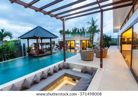 Outside loft villa view at night - stock photo