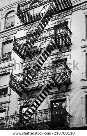 Outside metal fire escape stairs, New York City, USA - stock photo