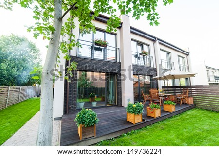 Outside of a modern house - stock photo