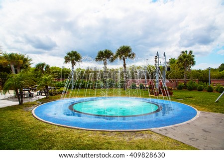 Outside round small blue pool in Florida, USA.  - stock photo