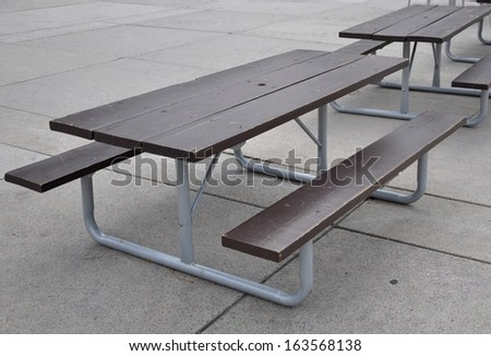 Outside table and bench - stock photo