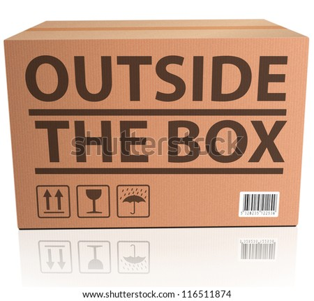 Outside the Box innovation, unconventional and creative thinking in solving a problem or brainstorming cardboard package - stock photo