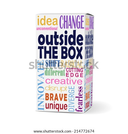 outside the box words on product box with related phrases - stock photo