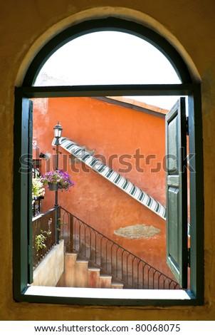 Outside the window - stock photo