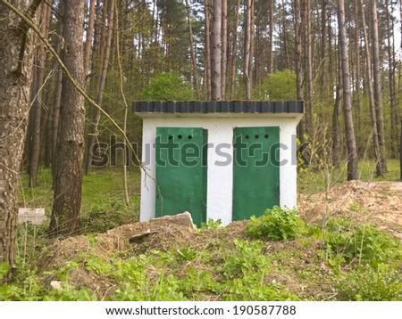 Outside toilet - stock photo