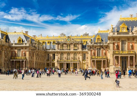 Outside view of Famous palace Versailles in a summer day - stock photo
