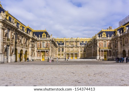 Outside view of Famous palace Versailles. The Palace Versailles was a royal chateau. It was added to the UNESCO list of World Heritage Sites. Paris, France.
