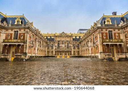 Outside view of Famous palace Versailles. The Palace Versailles was a royal chateau. It was added to the UNESCO list of World Heritage Sites. Paris, France. - stock photo