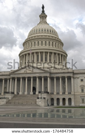 Outside View of US Capitol in Washington DC. Vertical Image. HDR - stock photo
