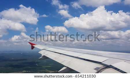 Outside view on airplane