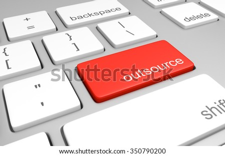 Outsource key on a computer keyboard for sending jobs overseas - stock photo