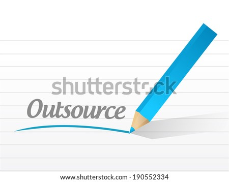 outsource message illustration design over a white background - stock photo