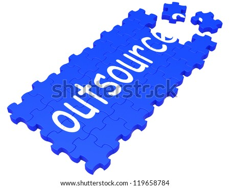 Outsource Puzzle Showing Subcontract, Employment And Freelance - stock photo