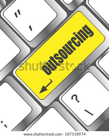 outsourcing button on computer keyboard key - stock photo