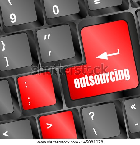 outsourcing button on computer keyboard key, raster - stock photo