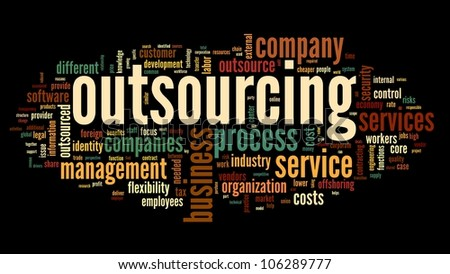 Outsourcing concept in word tag cloud on black background