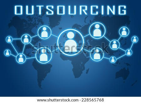 Outsourcing concept on blue background with world map and social icons. - stock photo